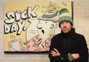 Artist Dave Ellis with His Painting Sick Day